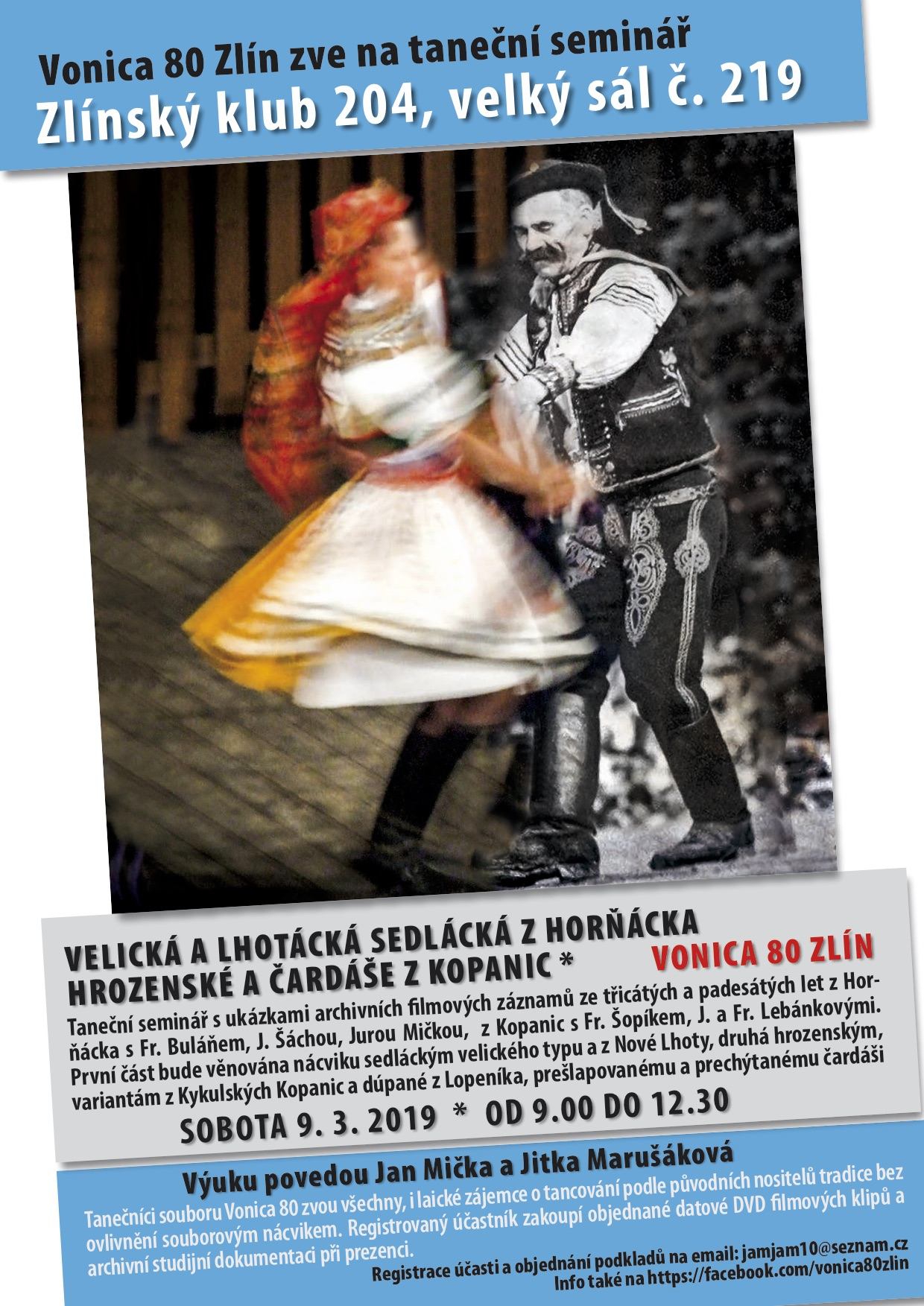 Taneční seminář Velická a Lhotácká sedlácká z Horňácka + Hrozenské čardáše z Kopanic
